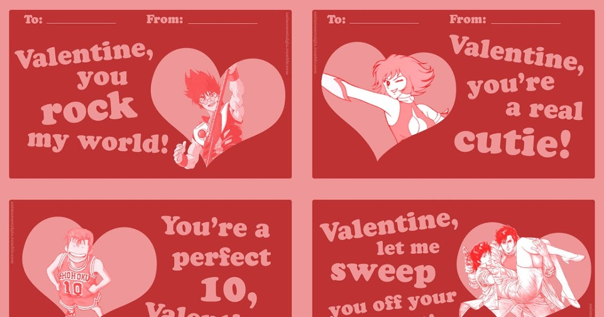 Featured image for Old-school anime Valentines!