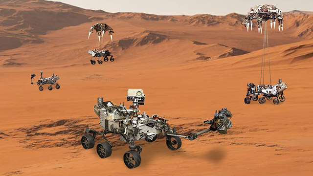 "Featured image for NASA to Launch 98 Additional Rovers and Have ""Battle Royale"" on Mars"
