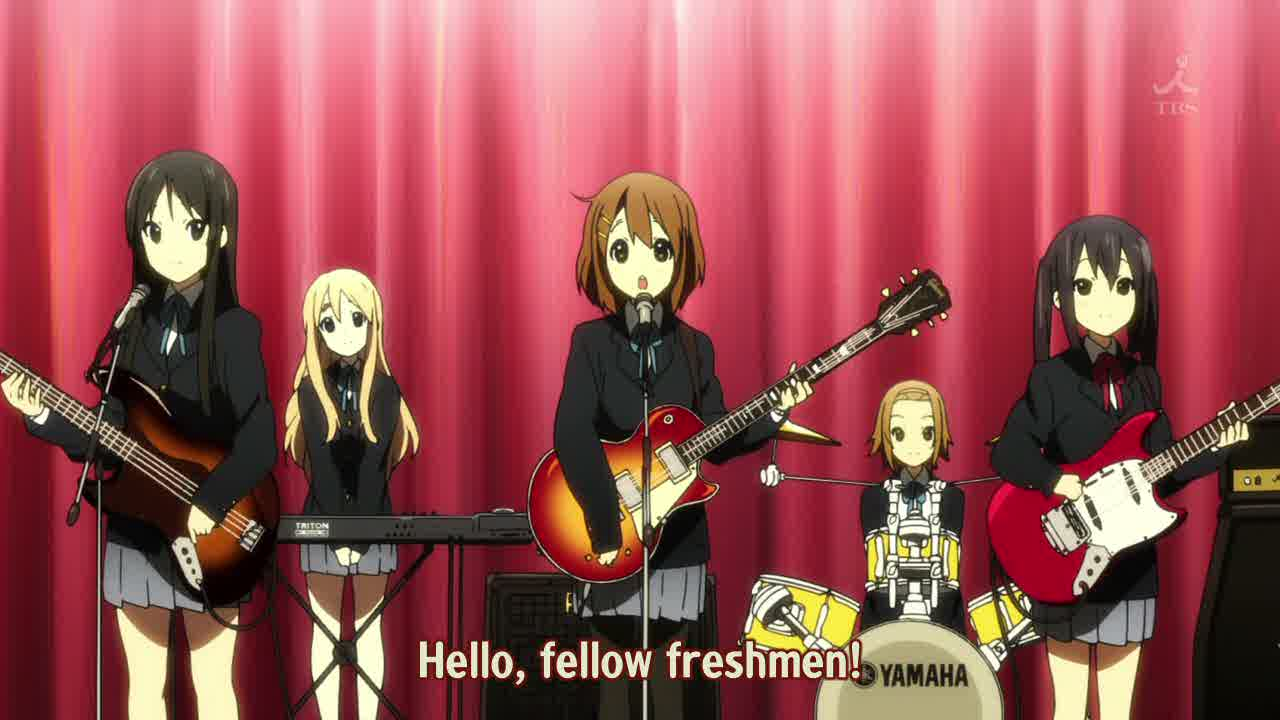 Featured image for K-On!! episode 1 review; cute girls doing cute things and I'm fine with it.