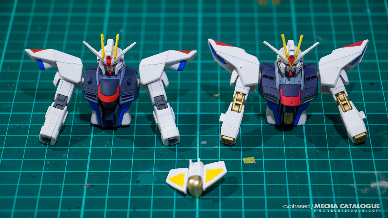 Featured image for Golden Joints! Work-in-Progress #1: HGCE Freedom / Strike Freedom Gundams
