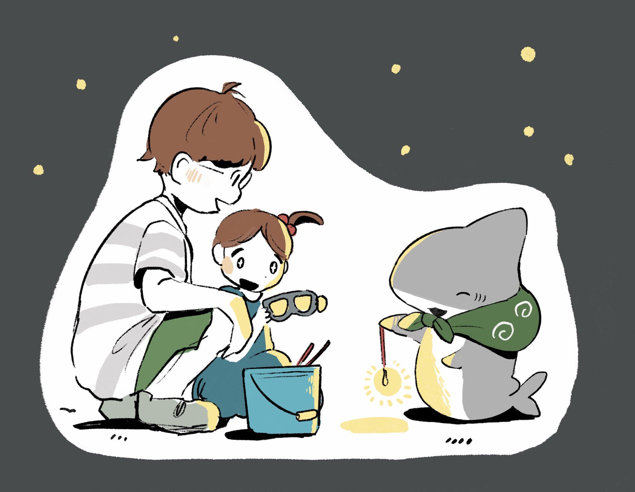 Featured image for Adorable Child Shark Manga! (Odekake Kozame by @Penguinbox1)