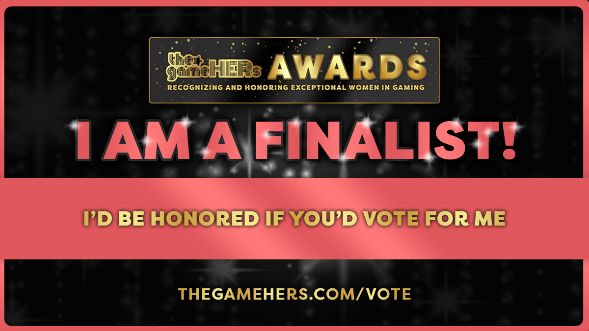 Featured image for Quick Update – I'm a Finalist in the*gameHERs Awards